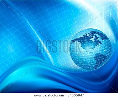 Globe trapped in a sphere made of binary code. Concept of global programming. Vector background.