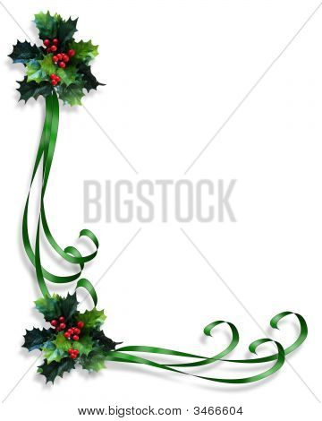 Christmas Holly And Ribbons Corner 3D