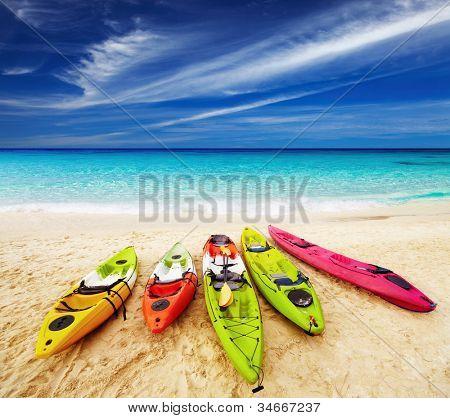 Colorful kayaks on the tropical beach, Thailand