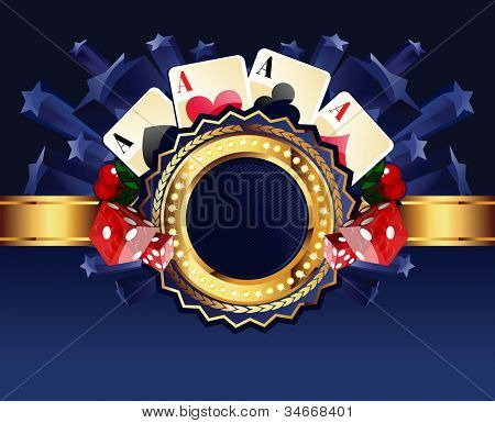 Casino gold-framed composition with cards, dice and cherries on blue star background