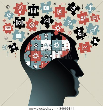 silhouette of a man's head with the brain of the puzzles and business icons. the concept of the information movement in modern business.