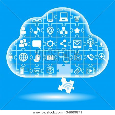 puzzle form a cloud computing with Social Media Icons. File is saved in AI10 EPS version. This illustration contains a transparency