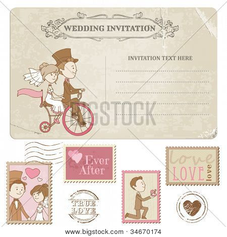 Wedding Postcard and Postage Stamps - for wedding design, invitation, congratulation, scrapbook