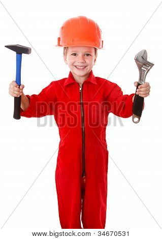 Little builder with wrench and hammer