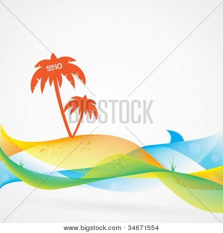 Verano colorido y Abstract vector fondo, tema tropical