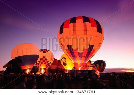 Nighttime Hot Air Balloons