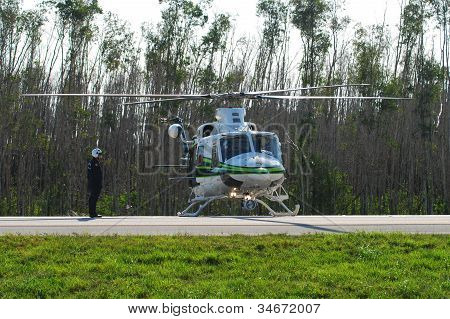 Miami Police Helicopter Responding To Road Emergency