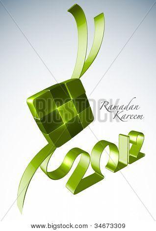 Vector 3D Muslim Ketupat 2012 Translation: Ramadan Kareen - May Generosity Bless You During The Holy Month