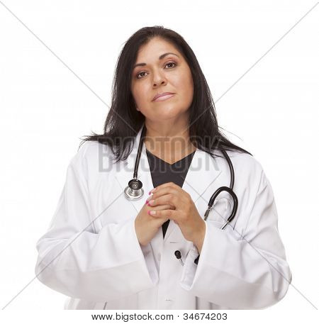 Concerned Female Hispanic Doctor or Nurse Isolated on a White Background.
