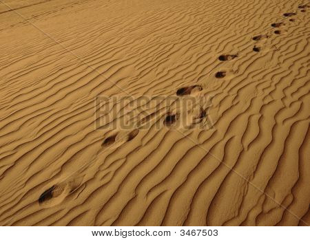 Solitary Sand Dune With Human Footprints-Horizontal