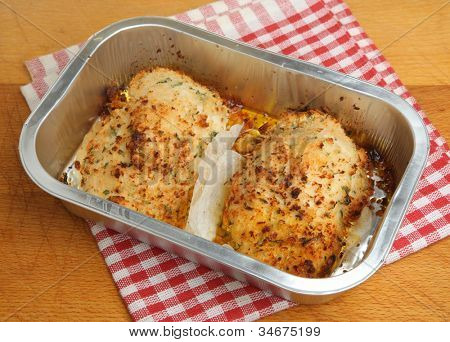 Chicken kiev easy meal baked in aluminium tray