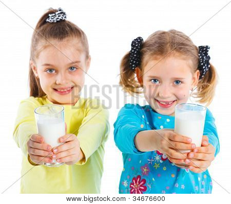 Two girl with milk