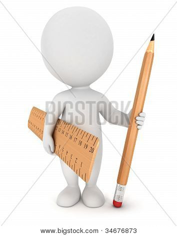 3d white people with pencil and ruler
