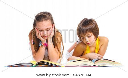 Funny girls with books.