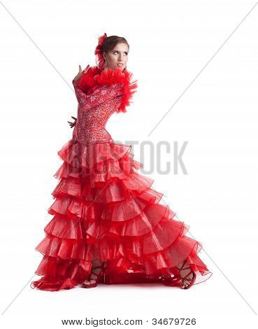 woman flamenco dancer in red costume isolated
