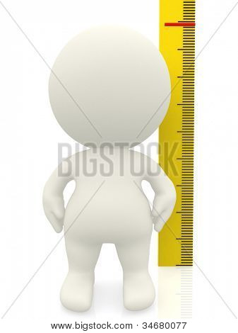 3D man measuring his height - isolated over a white background