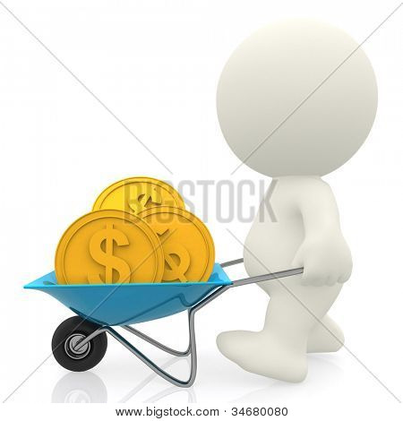 3D Man carrying money in a wheelbarrow - isolated over a white background