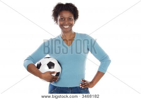 Beautiful Girl With Football Ball
