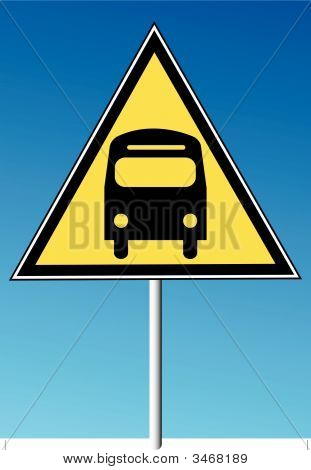 Sign Bus Route On Blue Sky.