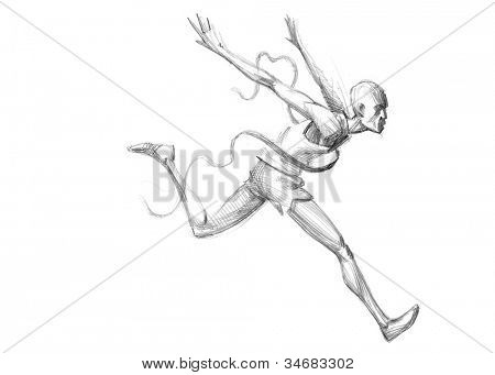 Hand-drawn Sketch, Pencil Illustration Games Athletes | Runner Crossing The Finish Line | High Resolution Scan