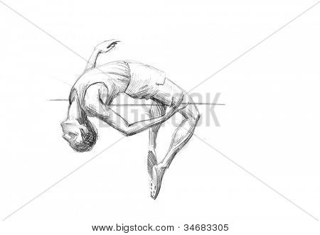 Hand-drawn Sketch, Pencil Illustration Games Athletes | High Jump | High Resolution Scan