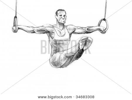 Hand-drawn Sketch, Pencil Illustration Games Athletes | Rings | High Resolution Scan