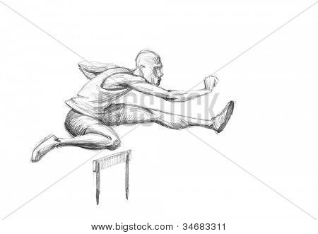 Hand-drawn Sketch, Pencil Illustration Games Athletes | Hurdling | High Resolution Scan
