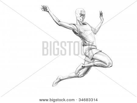 Hand-drawn Sketch, Pencil Illustration Games Athletes | Long Jump | High Resolution Scan