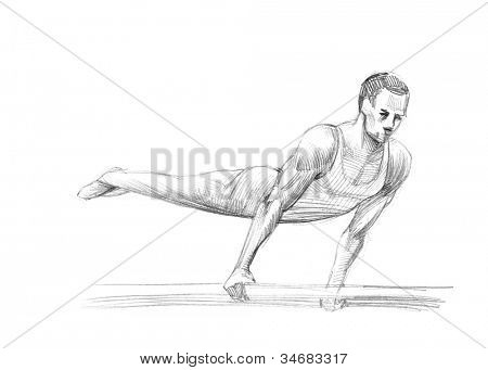 Hand-drawn Sketch, Pencil Illustration Games Athletes | Parallel Bars | High Resolution Scan