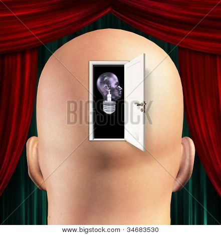 Mans mind opened to human light bulb