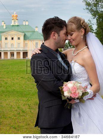 groom and the bride at Menshikov's palace in Lomonosov