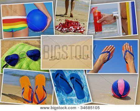 uma colagem de nove fotos de muitos artigos de praia e cenas no verão