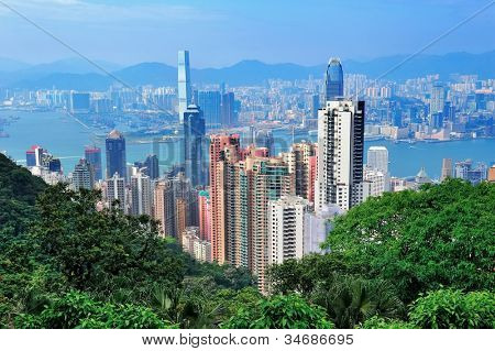 Urban architecture in Hong Kong in the day viewed from mountain top