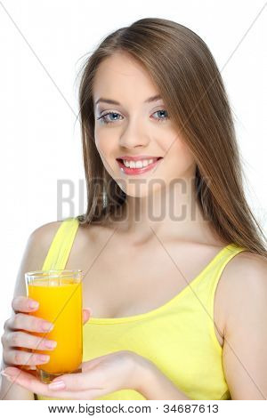 Portrait of a pretty young woman with glass of juice isolated on  a white background