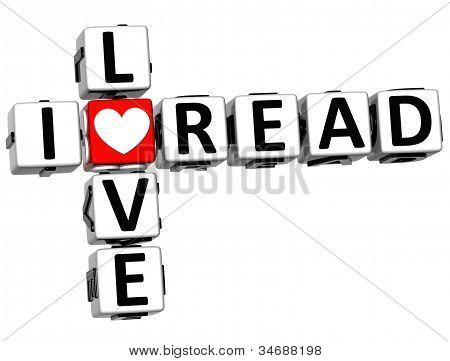 3D eu amo ler palavras cruzadas