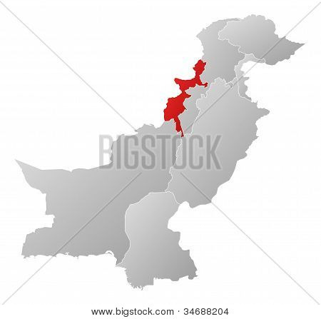 Map Of Pakistan, Federally Administered Tribal Areas Highlighted