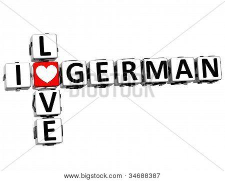 3D I Love German Crossword
