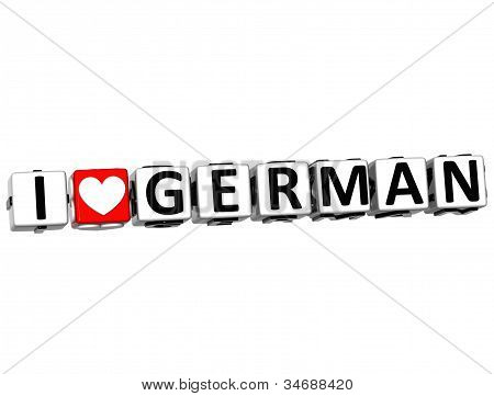3D I Love German Button Click Here Block Text