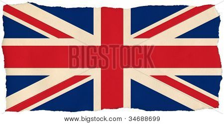 British Union Jack flag on old torn isolated paper.