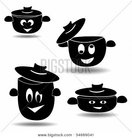 Nice set of pots and pans, vector