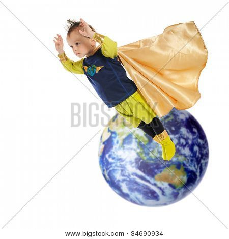 A serious preschool superhero flying high and away from planet earth.  Elements of this image furnished by NASA.  On a white background.