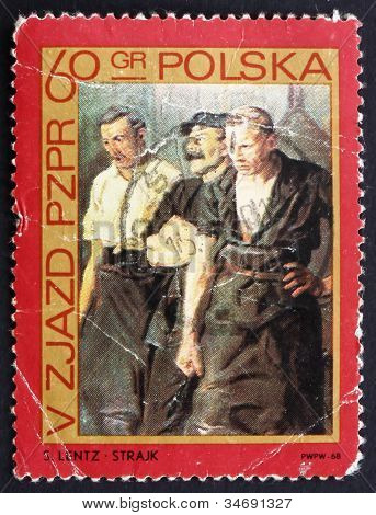 Postage stamp Poland 1968 Strikers by Stanislaw Lentz