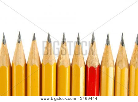 Yellow Pencils And One Red