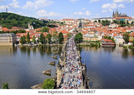 View of Prague, Charles bridge, Vltava river, St. Vitus cathedral