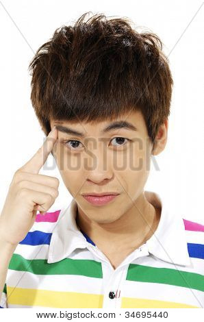 young man scratching his head, hard decision, studio shoot isolated on white background