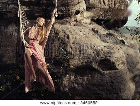 Fashionable woman in mountain