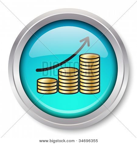 Rising Gold Coins Icon Glossy Metallic Button