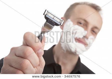 Man With His Shaving Razor