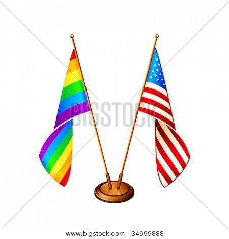 USA and gay pride flags at the same stand