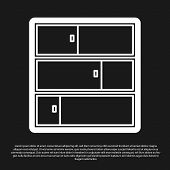 Black Shelf Icon Isolated On Black Background. Shelves Sign. Vector Illustration poster